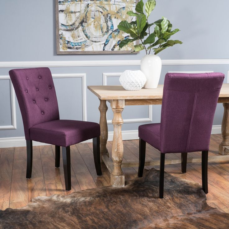 Nyomi Fabric Dining Chair (Set of 2) by Christopher Knight Home (Deep Purple)