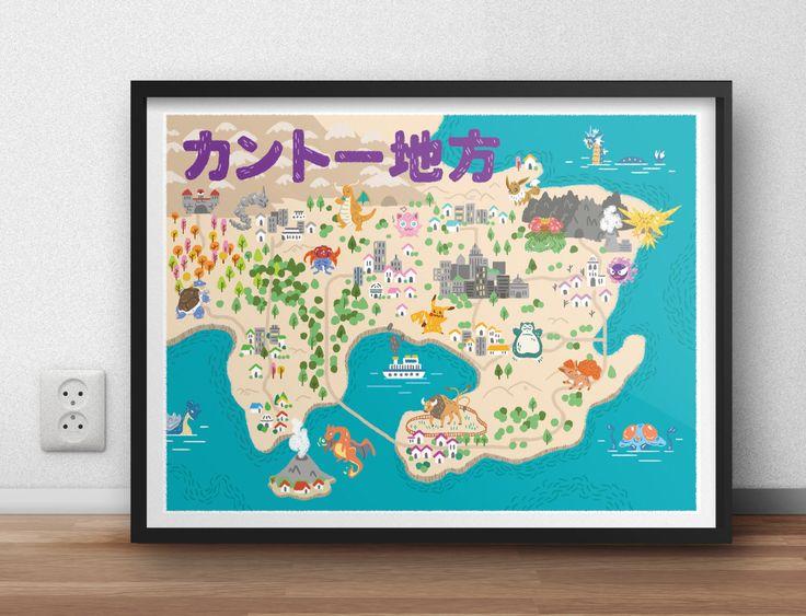 "Pokemon Town Map 18"" x 24"" Giclée Print by RexStudios on Etsy https://www.etsy.com/listing/469119785/pokemon-town-map-18-x-24-giclee-print"