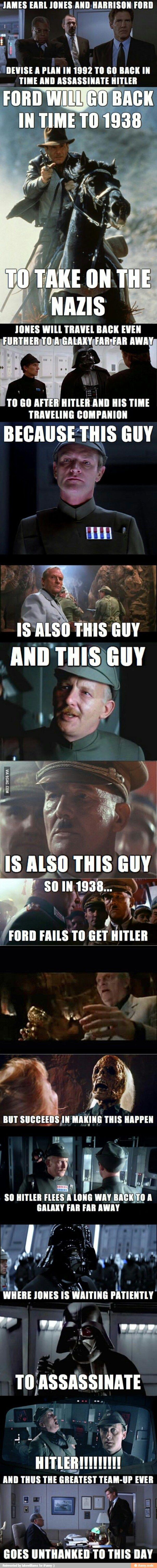 James Earl Jones & Harrison Ford team up to assassinate Hitler. - Star Wars & Indiana Jones