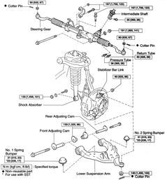 2002 toyota tundra front suspension diagram | Fig. Lower control arm and related components-