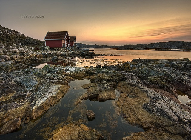 The south coast of Norway is a popular tourist place, both Norwegians and for foreigners invades the coastline in the summer. The coastline is very fine with small island and peninsulas all over the place.  This was shoot south-west of Kristiansand. You'll find cottages like this along the coast where you really can enjoy the Norwegian nature :))