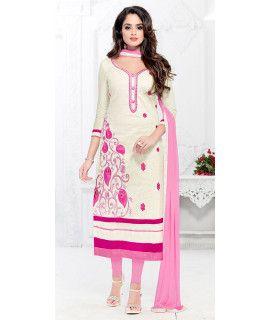 Elegant White And Pink Cotton Salwar Suit.