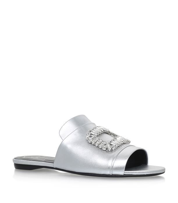 1ae72a8fafab Shoes  Heeled Sandals Roger Vivier Embellished Buckle Satin Mules ...