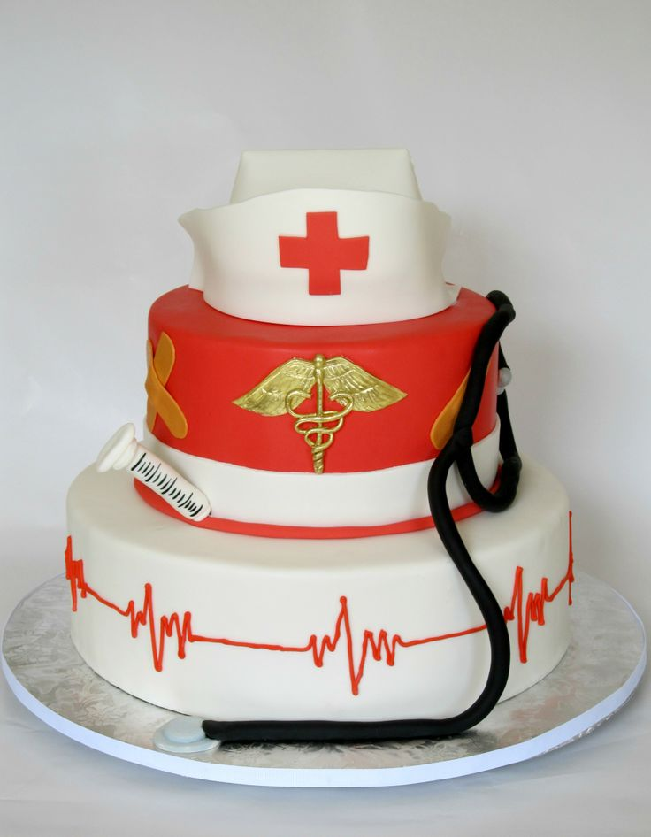 Nursing Grad Cake - I made this cake for my aunt who just graduated nursing school.  I honestly didn't know what I was going to do, until I was doing it!  Love the way it came out though.  The nurse's cap is gumpaste, all other decorations are fondant.