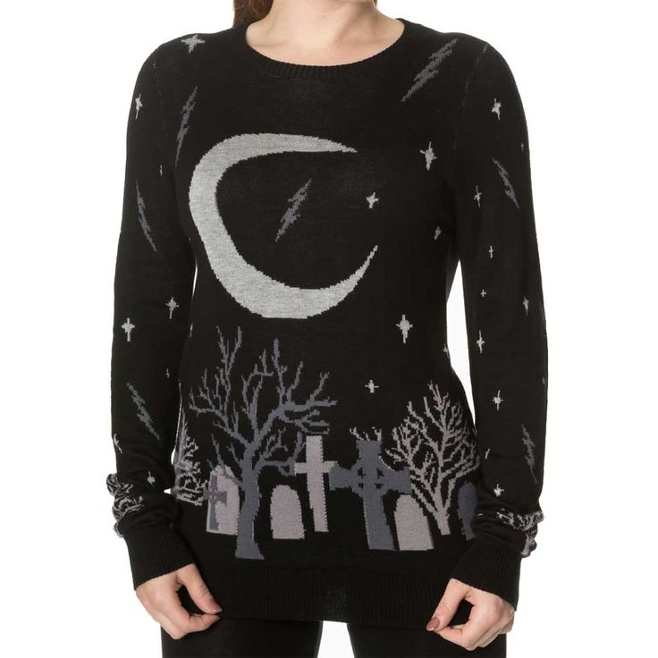 Moon gebreide dames trui met Halloween kerkhof print zwart - Gothic Metal Horror