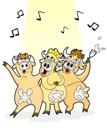 vacas engraçadas desenhos animados que cantam alegremente foto