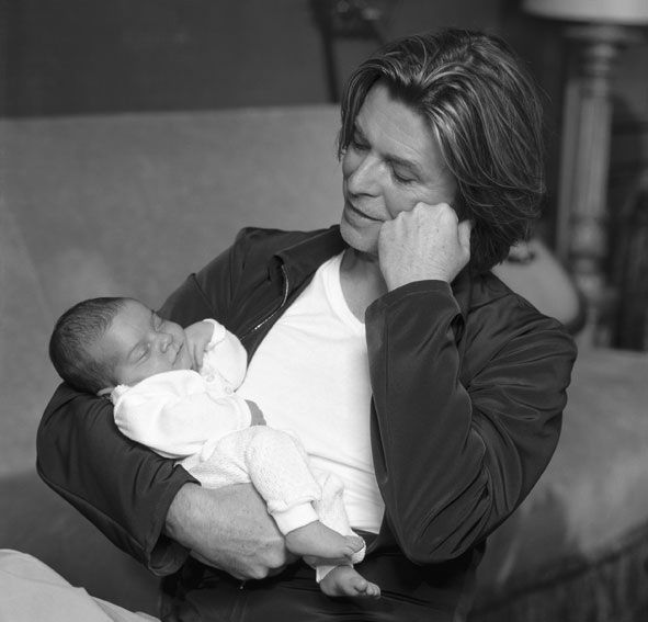 David Bowie with his daughter, 2000
