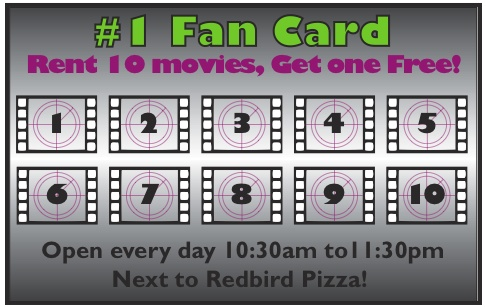 This loyalty card was designed for the Bloomington/Normal area for The Movie Fan for a IMC creative project  [back of card] (all work done on Adobe Illustrator-- 2012).