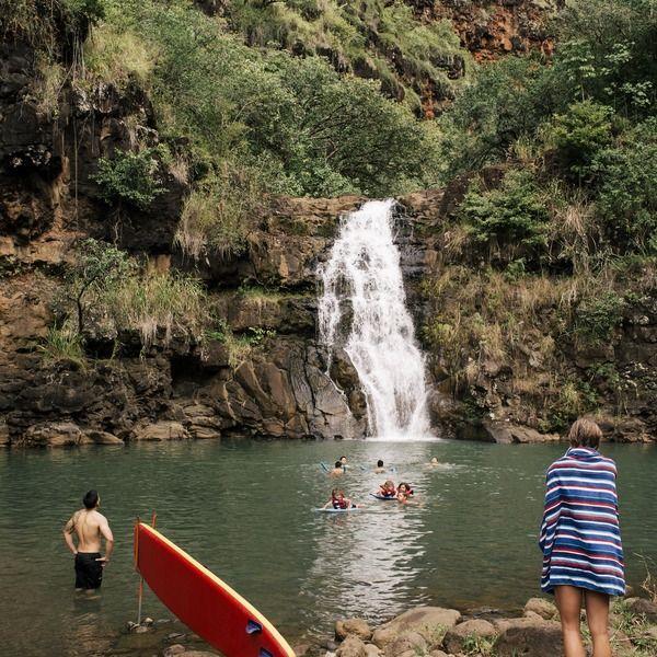 North Shore, Oahu, Hawaii- waterfall at the end of Waimea Canyon Hike.