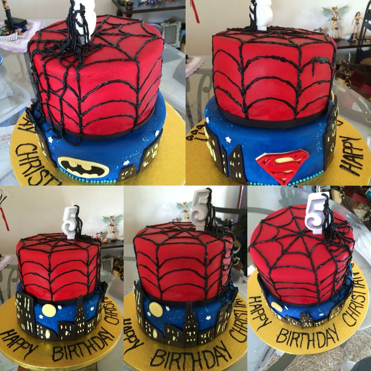Spiderman Batman and Superman cake theme. by 3groom