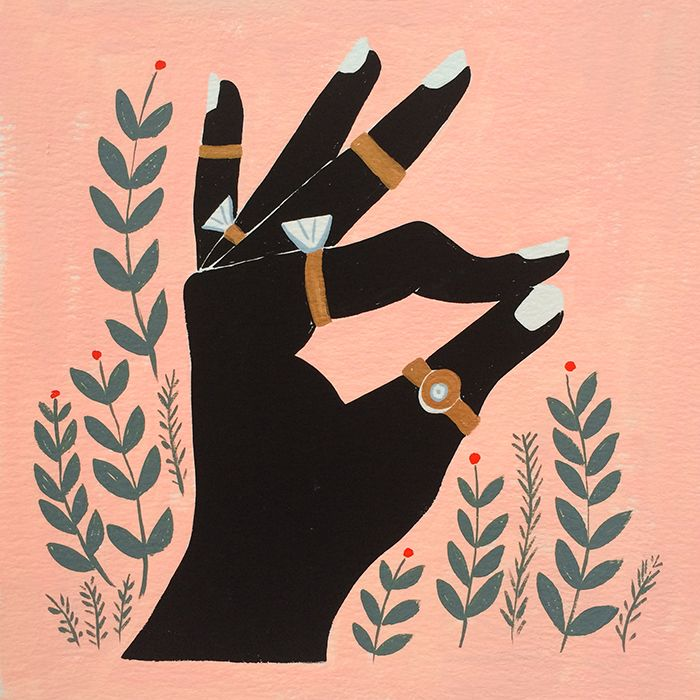 emily isabella - 12 days of christmas illustration Five golden rings.
