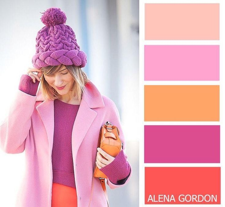 Peach, pink, lilac and orange