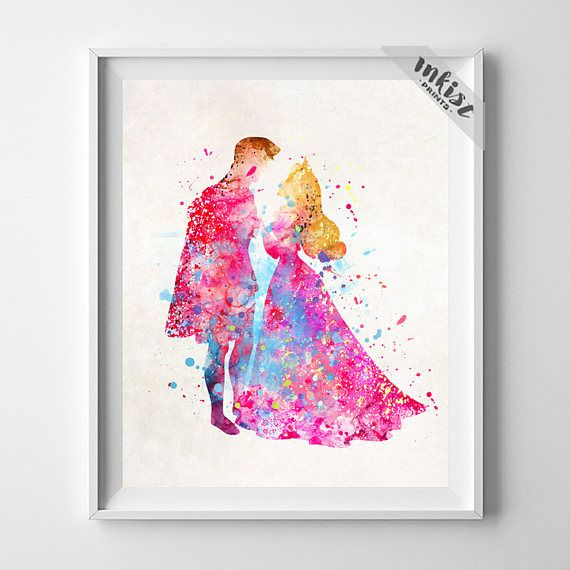 Sleeping Beauty Art, Princess Aurora, Prince Philip, Disney Watercolor, Aurora Print, Disney Art, Nursery Wall Art, Type 2, Wall Art. PRICES FROM $9.95. CLICK PHOTO FOR DETAILS. #inkistprints #watercolor #watercolour #giftforher #homedecor #wallart #walldecor #poster #print #christmas #christmasgift #weddinggift #nurserydecor #mothersdaygift #fathersdaygift #babygift #valentinesdaygift #painting #dorm #decor #livingroom #bedroom