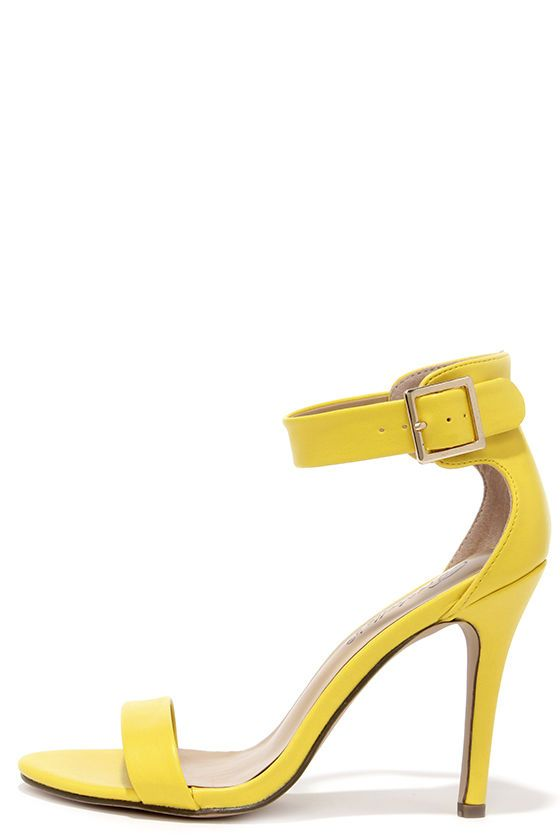 Enjoy the Show Yellow Ankle Strap Heels | Lulus