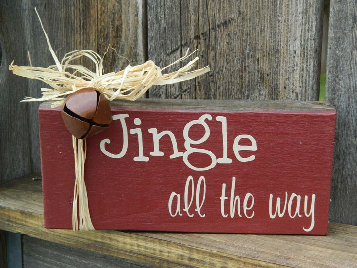 Christmas wood block Jingle all the way  by BuzzingBeesCrafts, $5.00