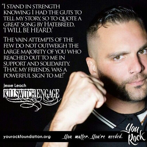 Jesse Leach of Killswitch Engage from the You Rock Foundation helping bring awareness to suicide and celebrating survivors.