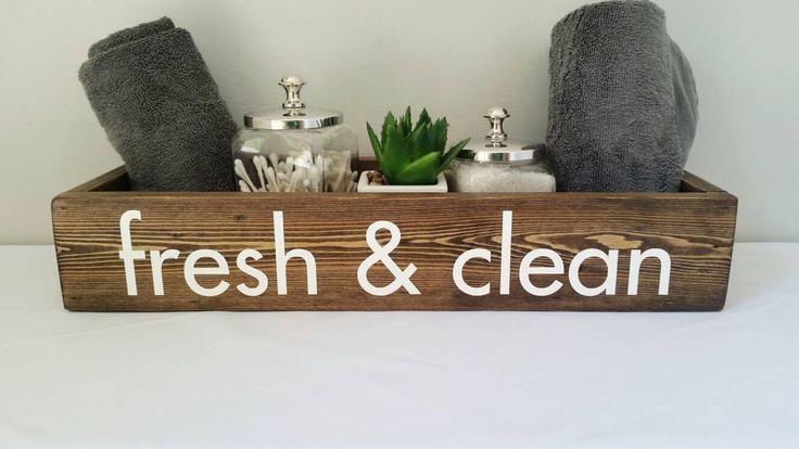 Fresh and Clean Bathroom Organization, Rustic Bathroom Accessories, Rustic Bathroom Decor, Bathroom Caddy, Farmhouse Bathroom Decor, Wood by HoneysuckleAndPine on Etsy https://www.etsy.com/listing/470544093/fresh-and-clean-bathroom-organization