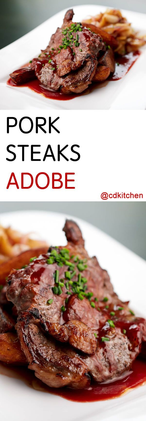 Pork Steaks Adobe - Pork shoulder steaks are simmered in a tangy tomato sauce for ultimate flavor.| CDKitchen.com
