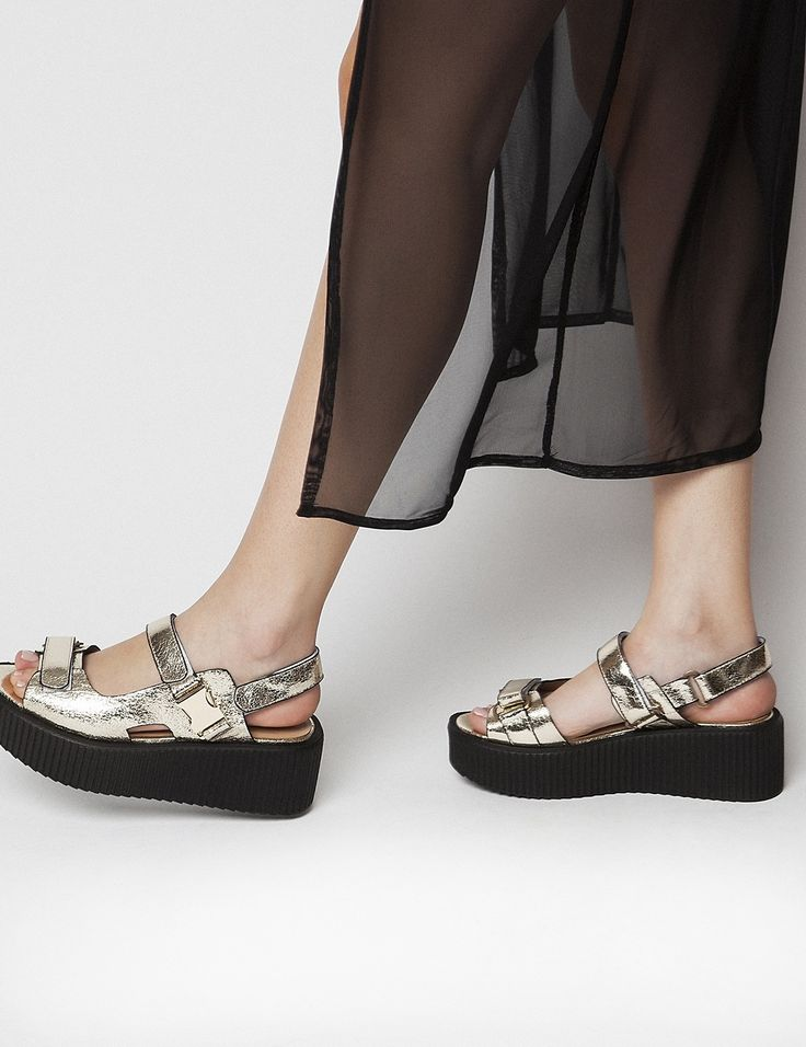Macbeth Gold Flatforms S/S 2015 #Fred #keepfred #shoes #collection #fashion #style #new #women #trends #flatforms #gold #platforms #leather