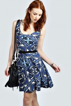 Lou Paisley Scoop Neck Skater Dress - Robes - Vêtements Femme