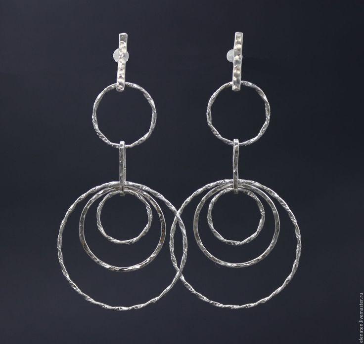 """Купить Легкие серебряные серьги """"Парад планет"""" серьги кольца серебро - серебряный, длинные серьги"""