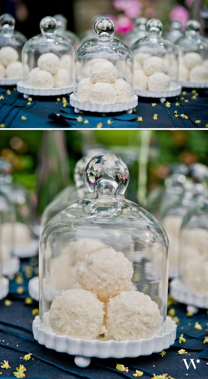The skies the limit on what sweet treats you want to place inside our Miniature Glass Bell Jars with White Fluted Bases - a chic and luxe favor option! http://www.weddingstar.com/product/miniature-glass-bell-jar-with-white-fluted-base