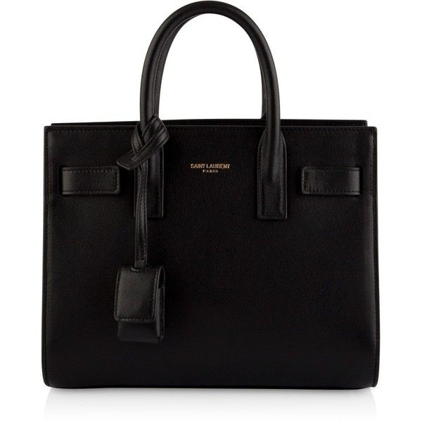 Saint Laurent Sac de Jour Nano Bag ($1,375) ❤ liked on Polyvore featuring bags, handbags, tote bags, purses, sacs, bolsos, black leather tote bag, black handbags, black purse and genuine leather tote bag