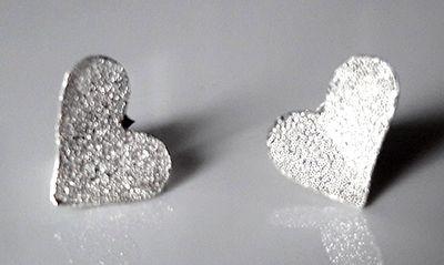 Silver Textured Heart Studs