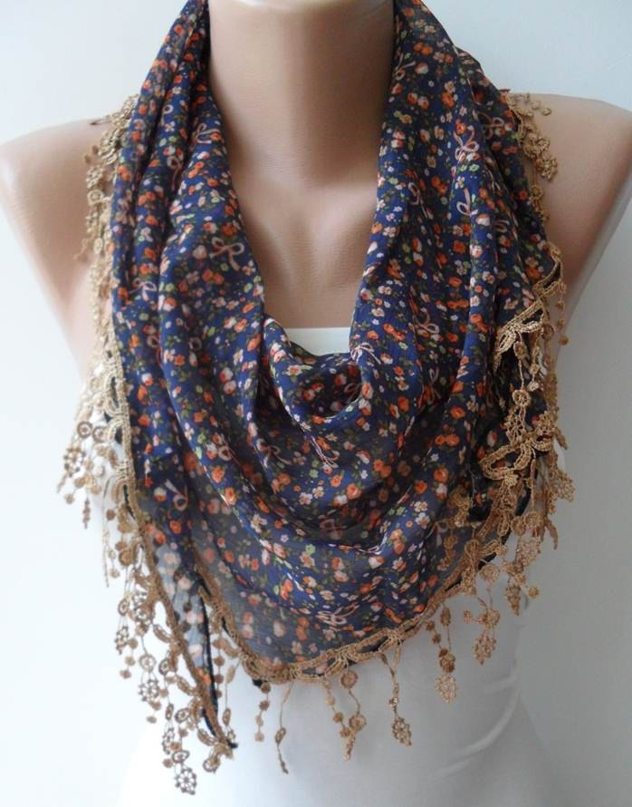 floral scarf with crochet edging fashion we