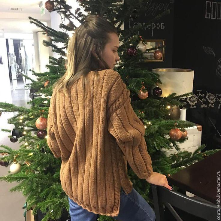 Купить Вязаный свитер ручной работы - коричневый, орнамент, свитер, свитер вязаный, свитер женский