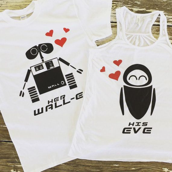 His Eve and Her Wall-E Shirts Disney Inspired Couples Set