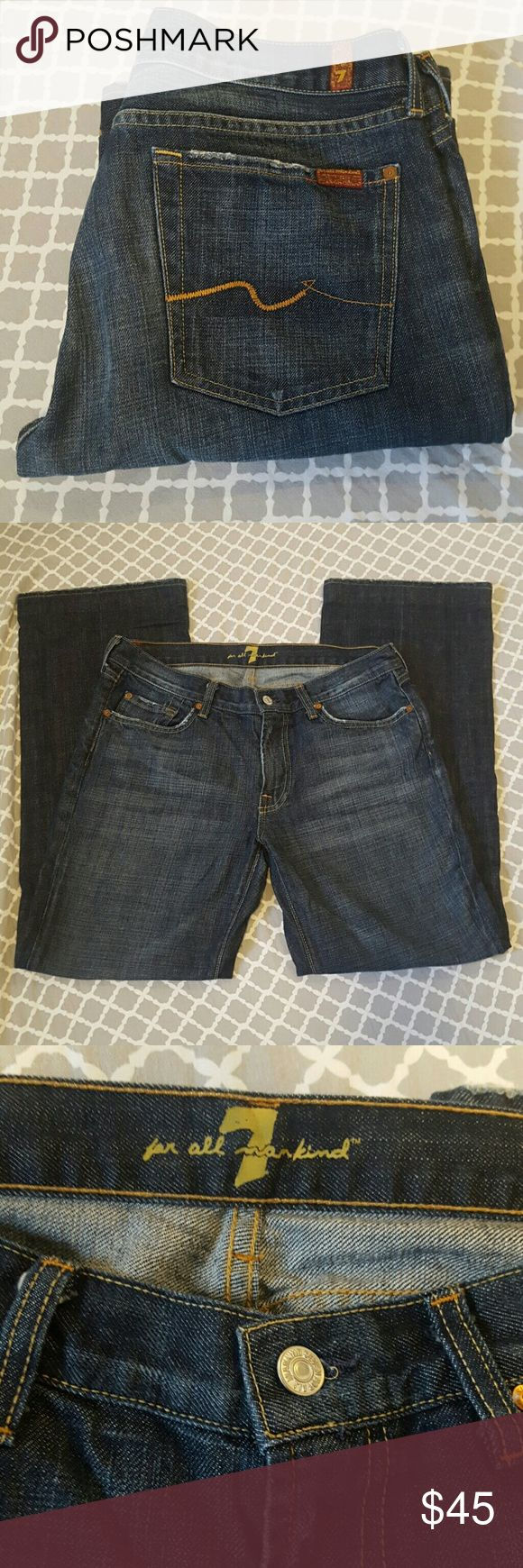 """Men's 7 For all Mankind denim Premium designer men's denim. Medium dark wash. Minimally distressed at bottom but not noticeable while wearing. Well taken  care of, laundered properly. 33"""" waist, 31"""" inseam. Signature 7FAMK back pocket stitching. 7 For All Mankind Jeans Bootcut"""