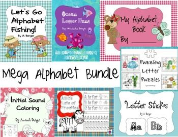 This is a price saving bundle of seven different Alphabet resources.  The individual descriptions can be found on the individual listings.  It includes the following products: Alphabet Fishing  Lots of Alphabet Practice- Letter Handwriting Letter Cards- for alphabet matching sticks Ocean Alphabet Hunt Initial Sound Coloring Book Alphabet Book- for adding pictures that start with each letter.