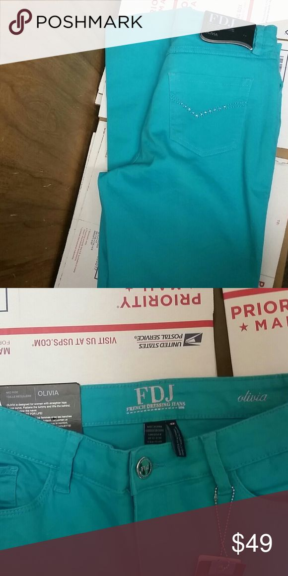NWT FDJ OLIVIA JEANS SZ 8 New with  tags fdj French Dressing Jeans Olivia Style slim ankle turquoise color size 8 FDJ  Jeans