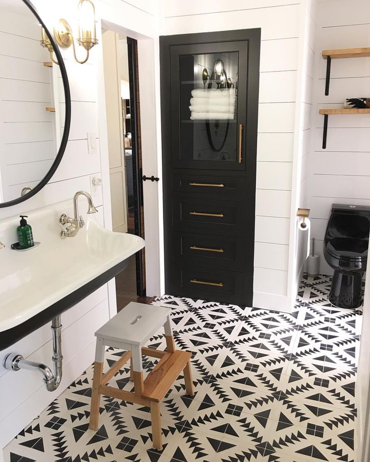 Black and white bathroom cement tiles kohler