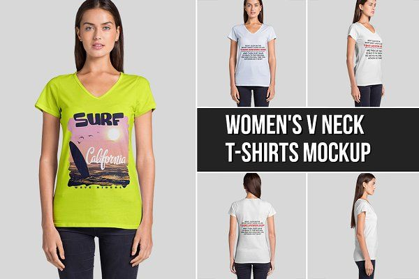 Download Download Women S V Neck T Shirts Mockup Psd Mockup Free Psd Mockups Shirt Mockup Tshirt Mockup V Neck T Shirt
