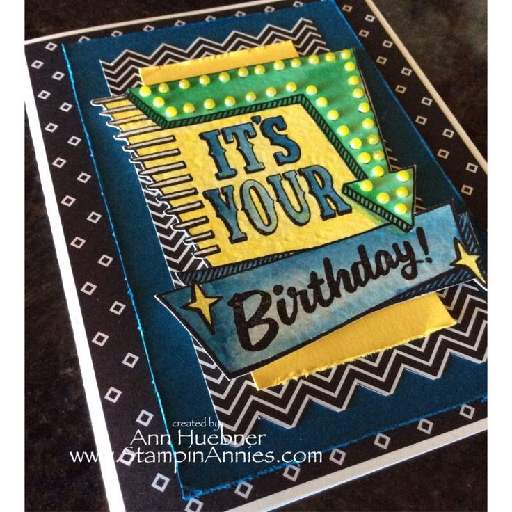 Stampin' Up Marquee Messages Birthday Card 2016, Neon Lights, Click on this pic to see more options with these stamps.  Order your's today.