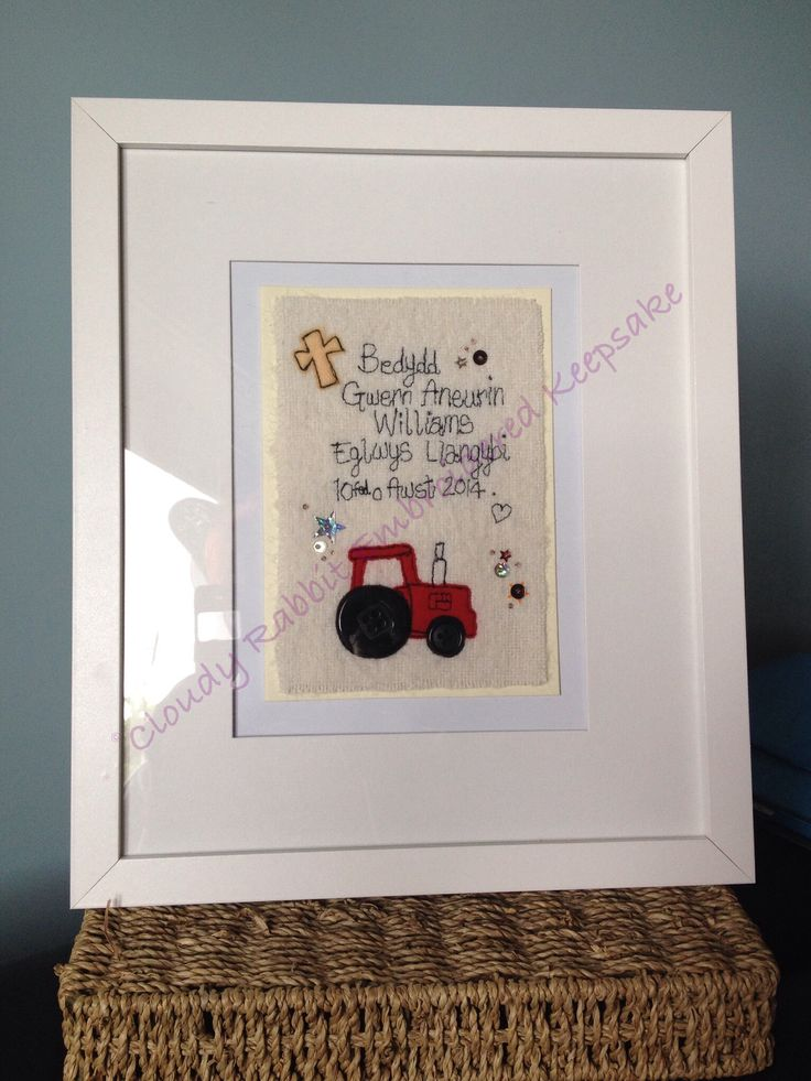 A cloudy Rabbit Embroidered Keepsake Christening card. mounted and framed. #freehandmachineembroidery #christening #Welsh #tractor #sequins Made by www.facebook.com/somethingalittlebitdiffeRnt