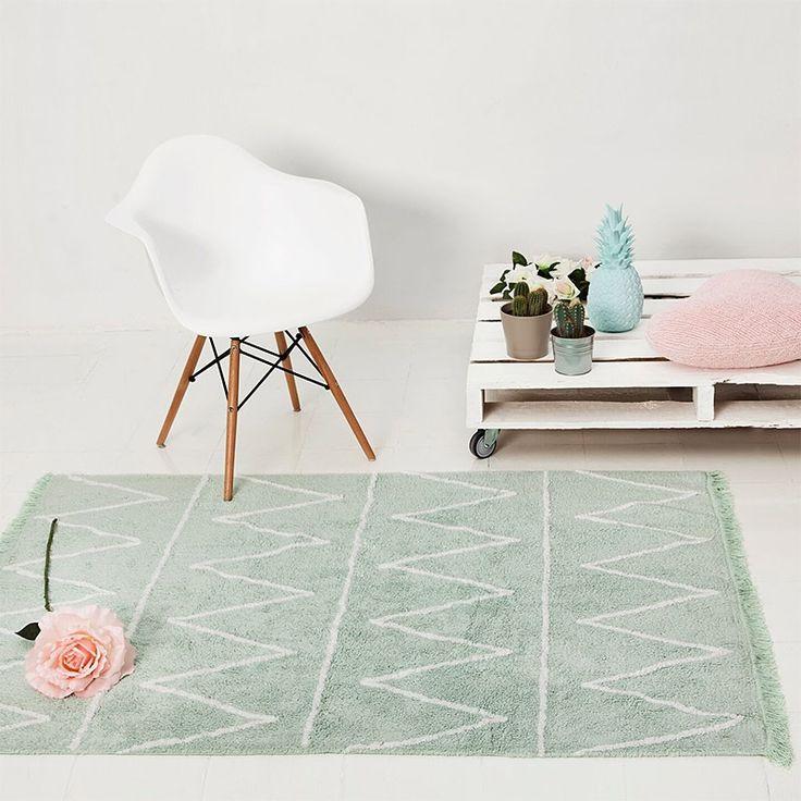 Teppich Washable Baumwolle Hippie mintgrün 120x160 von Lorena Ca