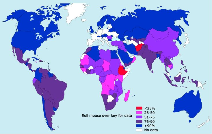 This is a map that contains information if you scroll across, providing statistics of the percentage of population with access to safe water by each country,