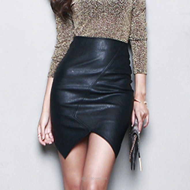 Black Asymmetric High Waist Short Leather Pencil Skirt-Skirts-Look Love Lust, https://www.looklovelust.com/products/black-asymmetric-high-waist-short-leather-pencil-skirt