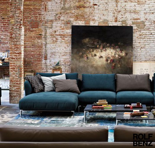 Scala sofa by Rolf Benz in turquoise