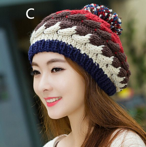 Cable knit bobble hat for women winter outdoor wear stocking caps