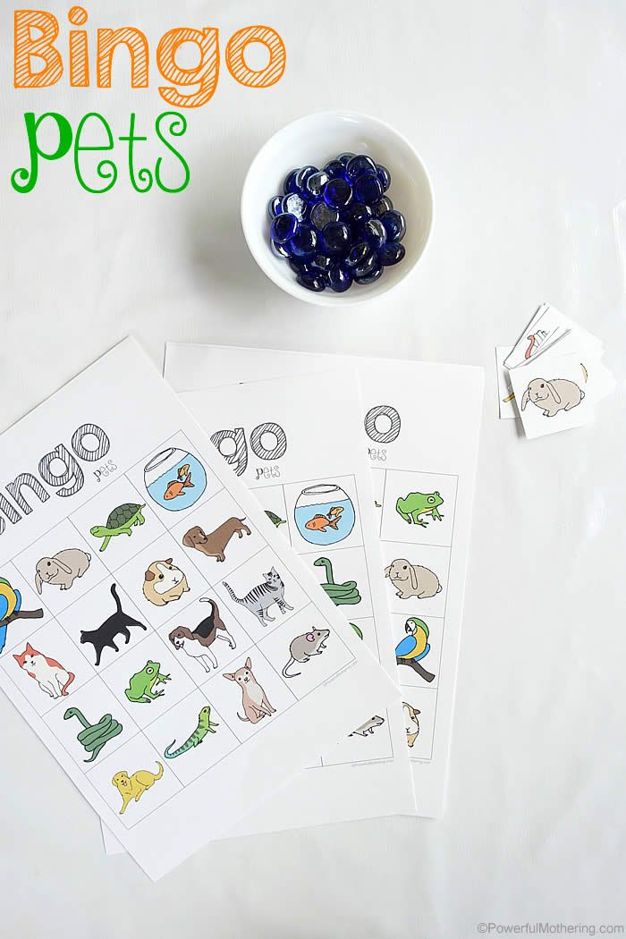 Preschoolers will enjoy this easy to play bingo pets game! Easy and fun.  Instructions on how to play here.