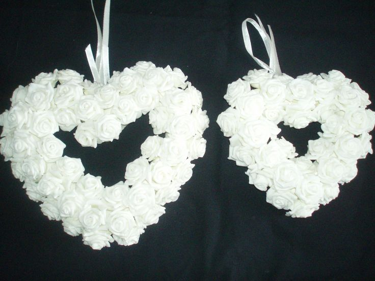 Poly foam hanging hearts for bridesmaid/flower girls