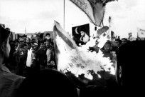 IRAQ, ONE YEAR AFTERBAGHDAD, MARCH 31 2004The demonstration of Moqtada Sadr in Baghdad in front of coalition headquarters.The Al Mahadi army from the Al Karlh district (suicide squads) burning the American flag, shouting
