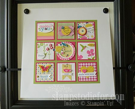 Kind and Cozy Gingham Garden New Stampin' Up! Products Framed Art. www.stampstodiefor.com