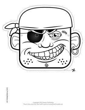 Bandana Pirate Mask to Color Printable Mask, free to download and print