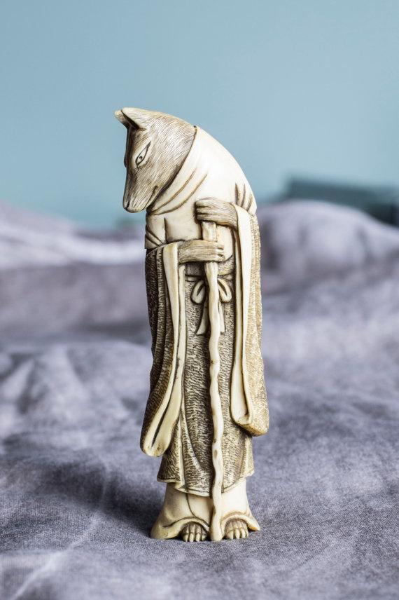 Ivory wolf netsuke Japanese Antique 19th century