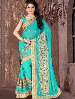Party Wear Aqua Chiffon Zari Work Saree